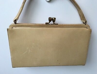 Vintage Off-White Leather Frame Bag Antique Brass Kissing Lock Clasp 1950's Retr