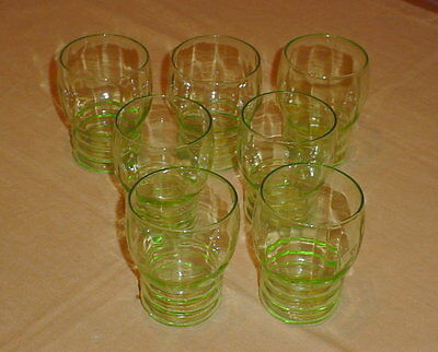 Lot of 7 Federal Glass Co Green Depression Tudor Ring Optic 9 Ounce Tumblers