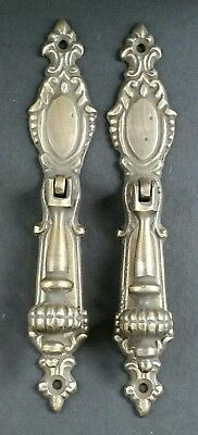 "2 Lg.Ornate Vertical Teardrop Brass Handle Drawer Pulls 5 7/8"" #H18"