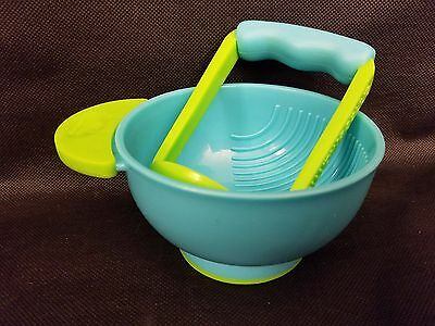 Nuk Mash and Serve Bowl Baby Food Homemade Blue Green