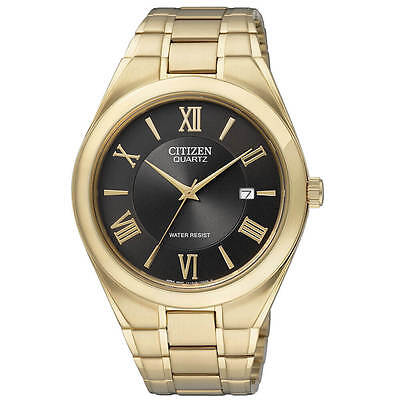 Citizen Mens Gold Tone Quartz Watch with Date Function BI0952-55G