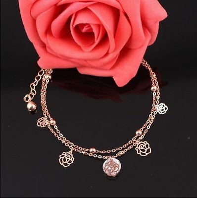 Beach Fashion Charm Rose Gold Ankle Bracelet Chain Foot Anklet Jewelry-UKSELLER