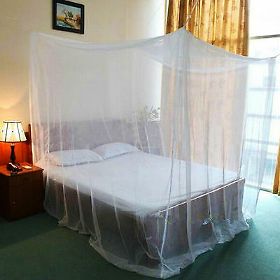 White 4/Four Corner Canopy Bed Netting Mosquito Net Full Queen King Size Bedding