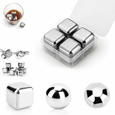 4x Reusable Stainless Steel Whiskey Wine Stones Ice Cubes Ball & Tongs