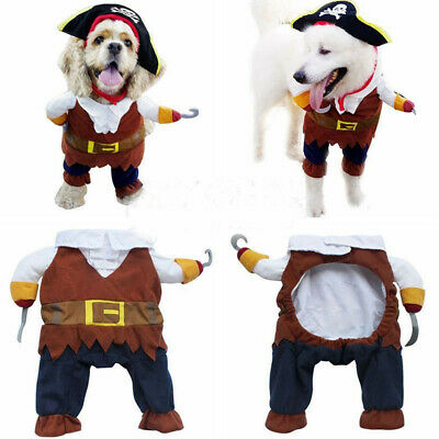 Pet Dog Cat Pirate Shape Apparel Doggy Clothes Costume Dress Suit Outfit 4 Sizes