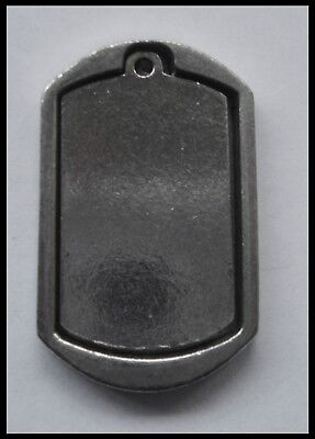 PEWTER CHARM #1284 heavy duty 2 part DOG TAG Engravable (40mm x 24mm)