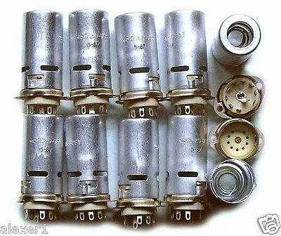 8x  9-pin  USSR Military TUBE SOCKETS 40mm. !!!NEW!!!
