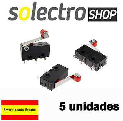 5x Interruptor con palanca de rodillo Pulsador KW12 on/off  final de carrera