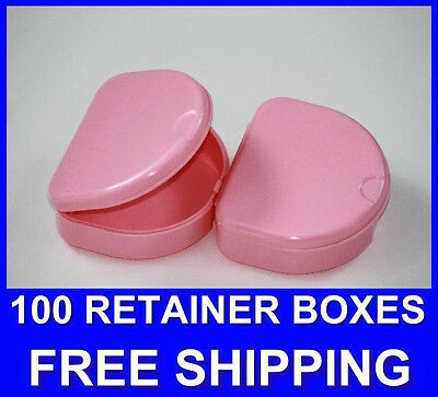 100 Pink Denture Retainer Box Orthodontic Dental Case Mouth Ortho Brace White.