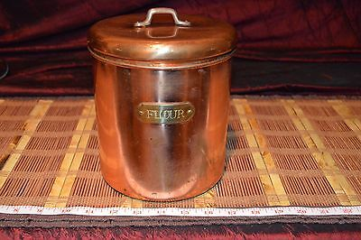 """Vintage Metal Copper and Brass Flour Canister 8""""x6 3/8"""""""