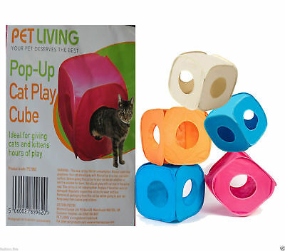 Branded Pet Living Pop Up Cat Kitten Play Cube Fun Strong Box For Cat Rabbit Toy • EUR 4,66