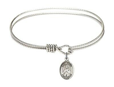 Stephen The Martyr Charm On A 7 1//2 Inch Round Double Loop Bangle Bracelet St