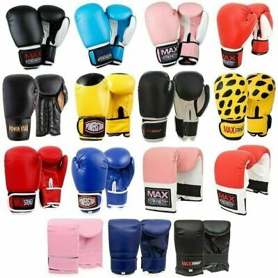 Rex Leather Boxing Gloves Fight Punch Bag  Mitts Muay Thai Training Hand Wraps