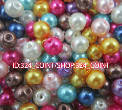 Z003J Wholesale Glass Pearl Round Spacer Loose Beads 4/6/8/10mm DIY