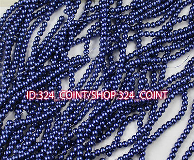 Z003K navy Wholesale Glass Pearl Round Spacer Loose Beads 4/6/8/10mm DIY
