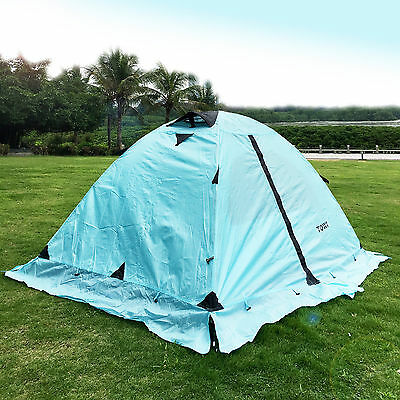 Outdoor Double Layer Waterproof Hiking Camping Tent 4 Season 2 Person Blue