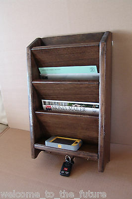 18 mail letter rack handcrafted wood organizer key holder wall or desk d walnut