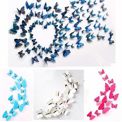 Home Decor 12pcs 3D Butterfly Magnetic Fridge Wall Stickers Decal PVC Decoration
