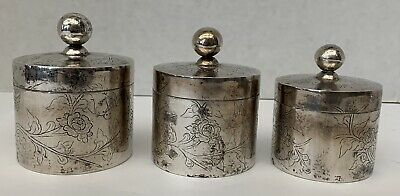 Chinese 19Th Century Sterling Silver Set Of Three Box's   Magnificent