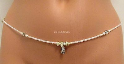 Creamy White Mother-of-Pearl-Butterfly-Star-moonstone-flower bead Waist Beads,