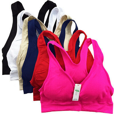 6 Women's Seamless Racerback Sports Bras Colorful Padded Yoga Gym One Size Lot