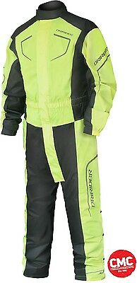 DriRider 1 piece rain suit thunder wear onsie Fluro Yellow road bike wet weather