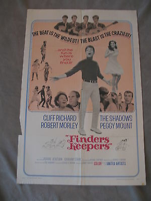 Finders Keepers 1967 Musical Cliff Richard Shadows One Sheet Movie Poster VG C6