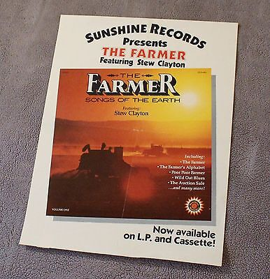 Farmer Songs of the Earth 1974 Stew Clayton Sunshine Records PROMO Poster VG C6