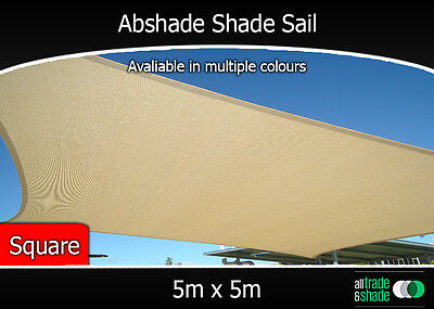 Abshade Shade Sail Square 5m x 5m in Green or Sandstone