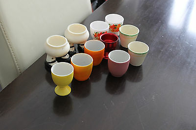 Vintage Retro EGG CUPS X 11 ENGLAND JAPAN FRANCE POTTERY ANODISED PLASTIC