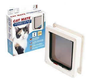 Cat Mate 2 Way Locking Cat Door Cat Flap- White-  With Door Liner
