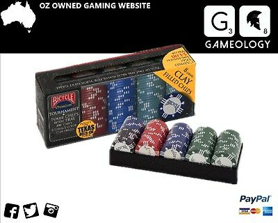 Bicycle Premium Poker chips with Tray 8GM 2 color Clay Filler 100 pk For Tournam