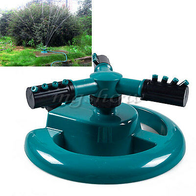 360° Fully Circle Rotating Water 3 Nozzles Sprinkler Garden Pipe Hose Irrigation