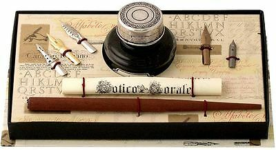 Wood Pen, Pewter Ink Bottle & 5 Nibs Set by Coles Calligraphy