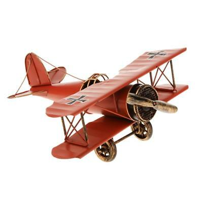 Vintage Red Tin Metal Biplane Airplane Model Decor Toy Collectible Play Gift
