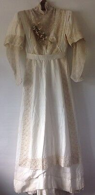 Stunning Vintage Original Edwardian Silk Wedding Dress , Museum Piece