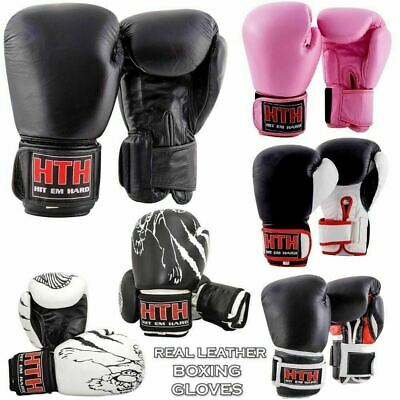 Real Leather Boxing Gloves Fight MMA Sparring Punch Bag Muay Thai Punching Pads