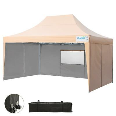 UPGRADED QUICTENT 10X15 Easy Pop Up Canopy Tent Party Tent with Sides Mesh  Beige