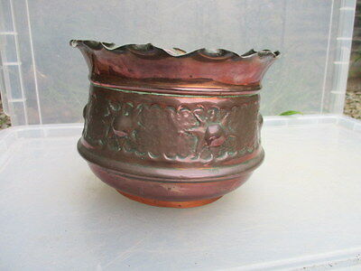 Antique Copper Planter Plant Pot Tub Trough Jardiniere Vintage Art Nouveau Old