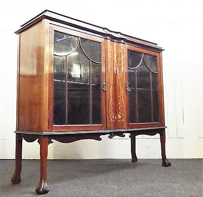 Antique Victorian good quality inlaid glazed display cabinet