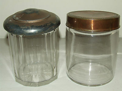 Antique Pair of Glass Crystal Victorian Humidor Pipe Cigar Tobacco Jars
