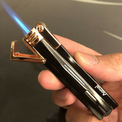 2 PCS Jet Torch Flame Ultra-thin Butane Windproof Cigar Cigarette Lighter Gray