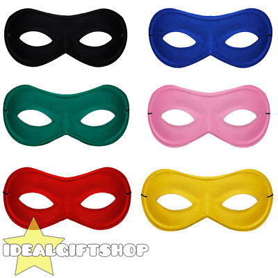 Eye Mask Burglar Superhero Fancy Dress Costume Accessory Choose Colour