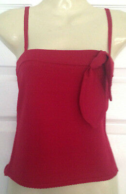 Ladies strappy pretty red top with bow, by NAUGHTY designer Size 8   NEW