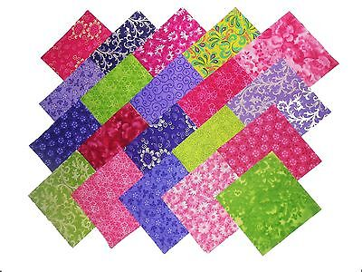 """20 10X10"""" Quilting LAYER CAKE Squares PUPLE & PINKS&GREENS-20 DIFFERENT-1 EA"""