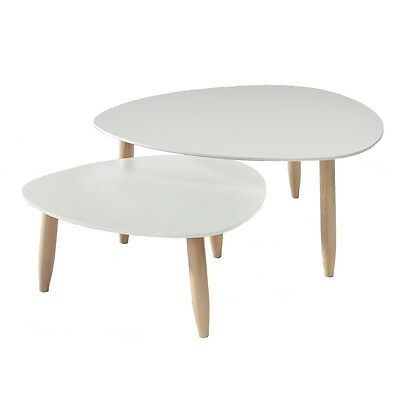 Tables gigognes Blanches - OVNI - L 80 x l 80 x H 35 - NEUF