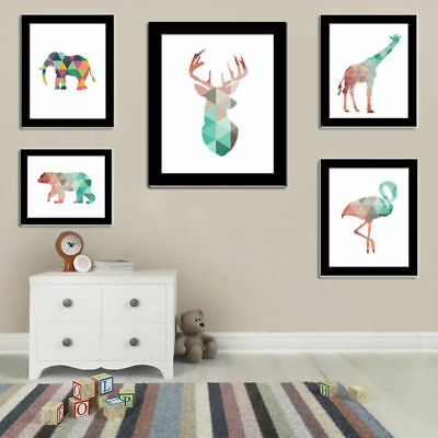 Geometric Coral Deer Head Canvas Art Print Poster Wall Stickers Home Decoration