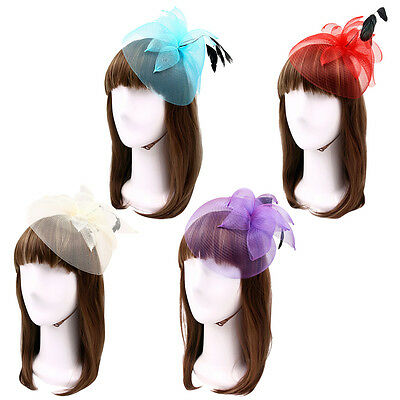 Elegant 2-Way Flower Veil & Feather Fascinator with Clip & Headband -Diff Colors