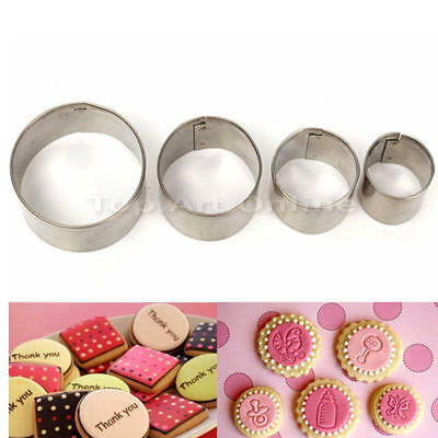New 4x Stainless Round Circle Cookies Cutter Fondant Pastry Cake Decorating Mold