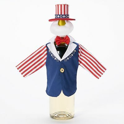 Food Network Uncle Sam 4th of July Americana Patriotic Wine Bottle Cover Decor